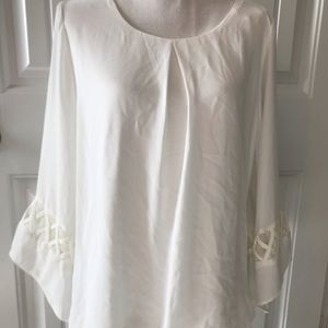AB Studio white blouse with flowy sleeves